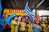 Roma 11 luglio 2015<br /> Sciopero nazionale dei dipendenti  IKEA, di tutti i 21 negozi in Italia, è il  primo sciopero nazionale  organizzato dai lavoratori della multinazionale svedese dell'arredamento. I manifestanti lamentano tagli in busta paga e tagli sulla retribuzione nei giorni festivi. I lavoratori Ikea Anagnina.Un manifestante con la bandiera della Grecia<br /> Rome 11 July 2015<br /> National strike of the employees 'IKEA, of  all 21 stores in Italy, is the first national strike organized by the workers of the multinational Swedish furniture. Protesters complain about cuts in payroll and wage cuts on public holidays. Workers Ikea Anagnina. A protester with the flag of Greece