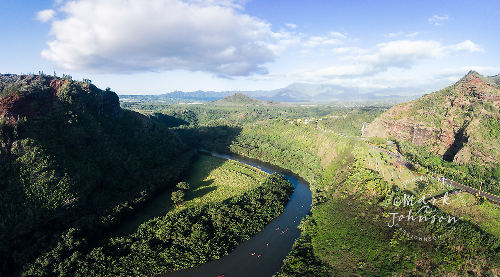 Aerial panorama photograph of kayakers on the Wailua River, Kauai, Hawaii