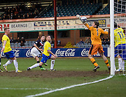 Dundee's Lewis Toshney heads Dundee into a 2-1 lead - Dundee v Greenock Morton, William Hill Scottish Cup 5th Round at Dens Park .. - © David Young - www.davidyoungphoto.co.uk - email: davidyoungphoto@gmail.com