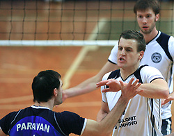 Tomaz Paravan, Jernej Potocnik at last final volleyball match of 1.DOL Radenska Classic between OK ACH Volley and Salonit Anhovo, on April 21, 2009, in Arena SGS Radovljica, Slovenia. ACH Volley won the match 3:0 and became Slovenian Champion. (Photo by Vid Ponikvar / Sportida)