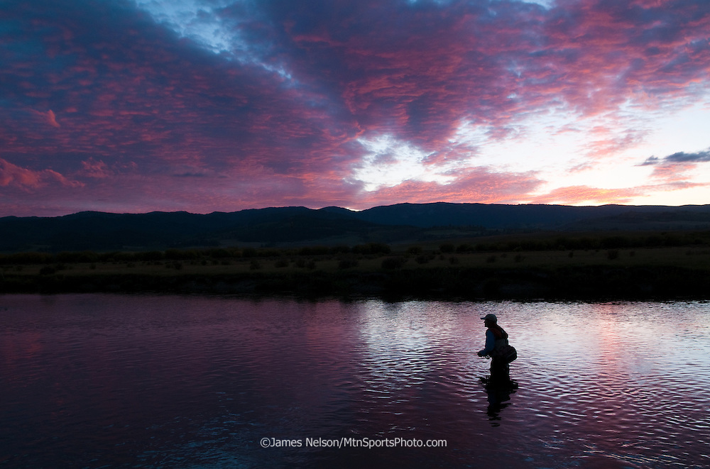 An angler fly fishes for trout on the upper Teton River near Driggs, Idaho.