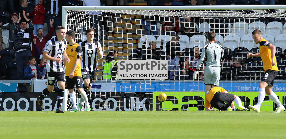 Sons look bemused as ball ends up in back of net from Scott Agnew during the St Mirren FC V Dumbarton FC Scottish Championship 12th August 2015<br /> <br /> (c) Andy Scott | SportPix.org.uk