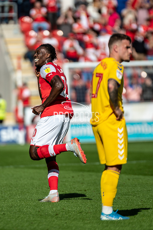 Olayinka Fredrick Oladotun Ladapo of Rotherham United celebrating his team's second goal during the EFL Sky Bet League 1 match between Rotherham United and Bolton Wanderers at the AESSEAL New York Stadium, Rotherham, England on 14 September 2019.