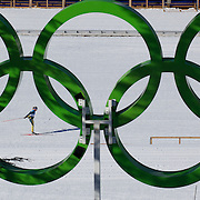 Winter Olympics, Vancouver, 2010.Esther Bottomley of Australia, practices in view of the Olympics Rings at Whistler Olympic Park Cross Country Skiing Stadium and course in preparation for the event at the Winter Olympics. 9th February 2010. Photo Tim Clayton