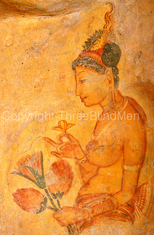Sigiriya. Wall painting of a maiden. Often called a fresco - this is not a fresco.!