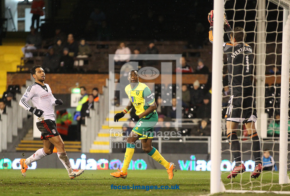 Picture by Paul Chesterton/Focus Images Ltd +44 7904 640267<br /> 14/01/2014<br /> Sebastien Bassong of Norwich watches his header easily saved by Maarten Stekelenburg of Fulham during The FA Cup 3rd Round Replay match at Craven Cottage, London.