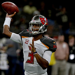 Dec 24, 2016; New Orleans, LA, USA; Tampa Bay Buccaneers quarterback Jameis Winston (3) against the New Orleans Saints before a game at the Mercedes-Benz Superdome. Mandatory Credit: Derick E. Hingle-USA TODAY Sports