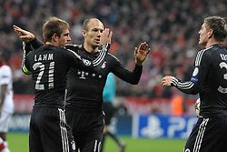 07-11-2012 VOETBAL: UEFA CLFC BAYERN MUNCHEN - OSC LILLE: MUNCHEN<br />  Philipp LAHM (FC Bayern Muenchen), Arjen ROBBEN (FC Bayern Muenchen) und Toni KROOS (FC Bayern Muenchen) <br /> ***NETHERLANDS ONLY***<br /> ©2012-FotoHoogendoorn.nl