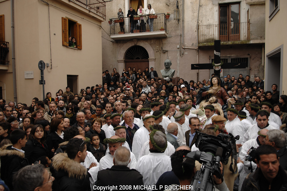 Nocera Tirinese, Calabria - MARCH 22: General views of the town days before the Rito Dei Battienti (rite of the beaters) March 22, 2008 in Nocera Tirinese, Calabria, Italy. A yearly Easter ritual dating back to the mid-13th century the Processione della Addolorata (procession of the Golden Madonna) and Rito dei Battienti (rite of the beaters) includes devote Catholics that flagellant themselves in the streets and jog the route of the Easter procession, enduring the pain and suffering of religious sacrifice in the name of spiritual cleansing. (Photo by Michael Bocchieri/Bocchieri Archive)