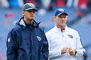 NASHVILLE, TN - OCTOBER 25:  Head Coach Ken Whisenhunt and a injured Marcus Mariota #8 of the Tennessee Titans watch the team warm up before a game against the Atlanta Falcons at Nissan Stadium on October 25, 2015 in Nashville, Tennessee.  (Photo by Wesley Hitt/Getty Images) *** Local Caption *** Ken Whisenhunt; Marcus Mariota