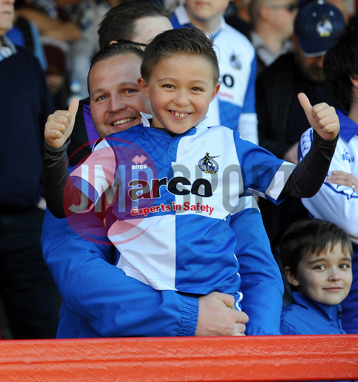 Bristol Rovers fans - Photo mandatory by-line: Neil Brookman/JMP - Mobile: 07966 386802 - 06/04/2015 - SPORT - Football - Kidderminster - Aggborough - Kidderminster v Bristol Rovers - Vanarama Football Conference