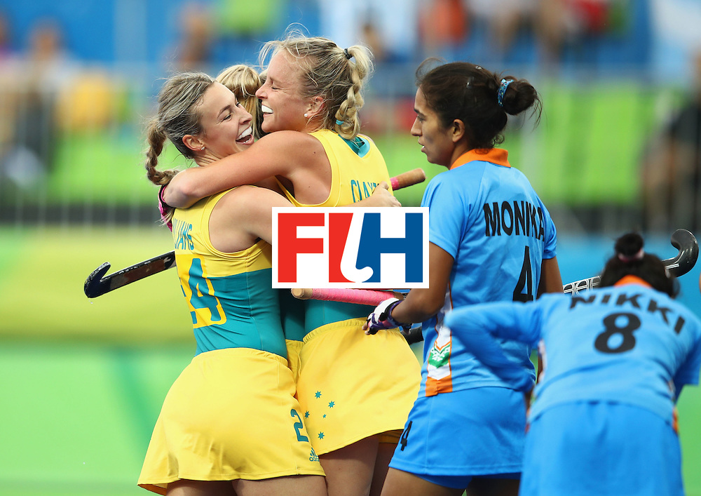 RIO DE JANEIRO, BRAZIL - AUGUST 10:  Mariah Williams (24) and Jane-Anne Claxton of Australia (18) celebrate a goal during the Women's Pool B Match between India and Australia on Day 5 of the Rio 2016 Olympic Games at the Olympic Hockey Centre on August 10, 2016 in Rio de Janeiro, Brazil.  (Photo by Mark Kolbe/Getty Images)