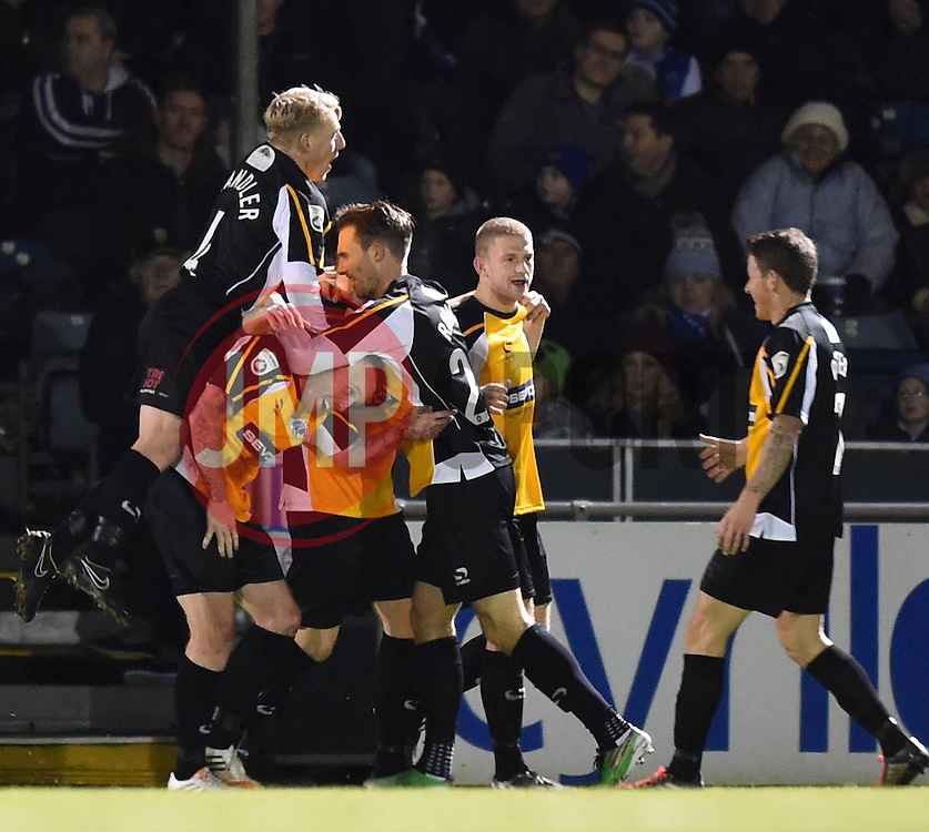 Gateshead players celebrate Rob Ramshaw's opener against Bristol Rovers - Photo mandatory by-line: Paul Knight/JMP - Mobile: 07966 386802 - 19/12/2014 - SPORT - Football - Bristol - The Memorial Stadium - Bristol Rovers v Gateshead - Vanarama Conference