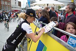 Floortje Mackaaij (NED) of Liv-Plantur Cycling Team signs autographs before the start of the Aviva Women's Tour 2016 - Stage 4. A 119.2 km road race from Nottingham to Stoke-on-Trent, UK on June 18th 2016.