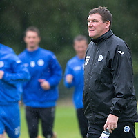 St Johnstone Training...29.08.14<br /> Tommy Wright watches training at a wet McDiarmid Park this morning..<br /> Picture by Graeme Hart.<br /> Copyright Perthshire Picture Agency<br /> Tel: 01738 623350  Mobile: 07990 594431