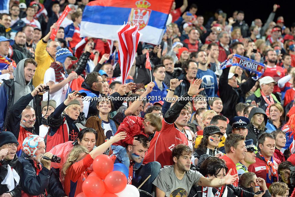 Serbia fans celebrate the win of the the FIFA U20 World Cup Football Final over Brazil. Auckland, New Zealand. Saturday 20 June 2015. Copyright Photo: Raghavan Venugopal / www.photosport.nz