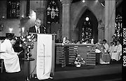 Mass For Edel Quinn.  (S3)..1989..13.05.1989..05.13.1989..13th May 1989..A special mass was held in Saint Saviour's Priory,Dominick Street,Dublin, in remembrance of Edel Quinn. Edel Quinn was a major driving force in The Legion of Mary. Edel Quinn was appointed as special envoy to work in Africa and up until her death in Nairobi,from TB, in 1944 she promoted the values of the Legion throughout Africa. The Papal Nuncio, Emanuele Gerada was in attendance at the mass...Image shows Mr Liam Herlihy reading a lesson at the mass for Edel Quinn.