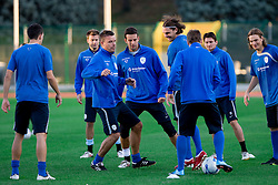 Anton Zlogar, Samir Handanovic, Marko Suler, Andraz Kirm and Nejc Pecnik of Slovenian National football team at practice a day before the last 2010 FIFA Qualifications match between San Marino and Slovenia, on October 13, 2009, in Olimpico Stadium, Serravalle, San Marino.  (Photo by Vid Ponikvar / Sportida)