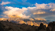 Clearing storm over the Sierra crest from the Alabama Hills, Owens Valley, California USA