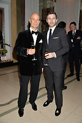 Left to right, TIM LEPPANEN and PIERRE BALESI at a reception hosted by Wei Koh founder of The Rake Magazine and Thomas Kochs General Manager of Claridge's to celebrate London Collections: Man 2014 at Claridge's, Brook Street, London on 5th January 2014.