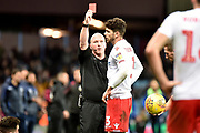 Nottingham Forest defender Tobias Figueiredo (3) shown a red card, sent off during the EFL Sky Bet Championship match between Aston Villa and Nottingham Forest at Villa Park, Birmingham, England on 28 November 2018.