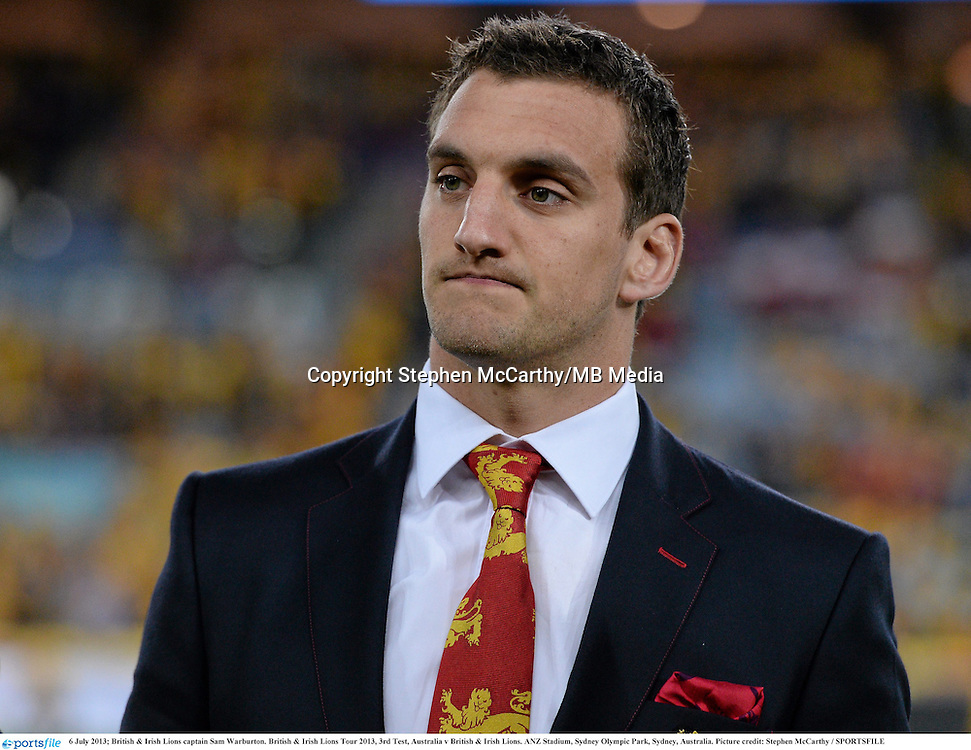 6 July 2013; British & Irish Lions captain Sam Warburton. British & Irish Lions Tour 2013, 3rd Test, Australia v British & Irish Lions. ANZ Stadium, Sydney Olympic Park, Sydney, Australia. Picture credit: Stephen McCarthy / SPORTSFILE