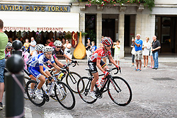 Emma Pooley leads on the climb through Buja at Giro Rosa 2016 - Stage 2. A 111.1 km road race from Tarcento to Montenars, Italy on July 3rd 2016.