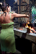 Woman cooking in Bariay, Holguin, Cuba.