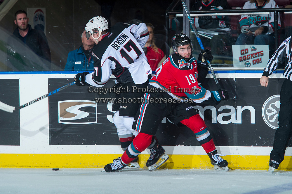 KELOWNA, CANADA - NOVEMBER 10: Dillon Dube #19 of the Kelowna Rockets back checks Tyler Benson #17 of the Vancouver Giants at the boards on November 10, 2017 at Prospera Place in Kelowna, British Columbia, Canada.  (Photo by Marissa Baecker/Shoot the Breeze)  *** Local Caption ***