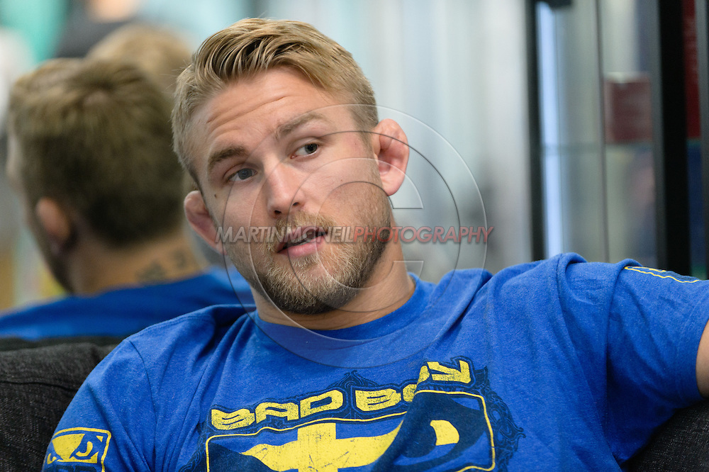 LONDON, ENGLAND, AUGUST 2, 2013: UFC light-heavyweight contender Alexander Gustafsson relaxes whilst being interviewed inside Stars Gym in Battersea, London on Friday, August 2, 2013 © Martin McNeil