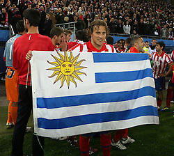 12.05.2010, Hamburg Arena, Hamburg, GER, UEFA Europa League Finale, Atletico Madrid vs Fulham FC, im Bild Atletic Madrid's Diego Forlan man of the match scorer of the brace that denied  Fulham, EXPA Pictures © 2010, PhotoCredit: EXPA/ IPS/ Marcello Pozzetti / SPORTIDA PHOTO AGENCY