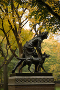 Sculpture of a hunter and his dog  by JQA Ward in NYC Central Park