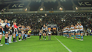 Richard Horne of Hull Football Club takes the applause from both sets of fans on his last game for Hull FC as he retires during the First Utility Super League match at KC Stadium, Hull<br /> Picture by Richard Gould/Focus Images Ltd +44 7855 403186<br /> 12/09/2014