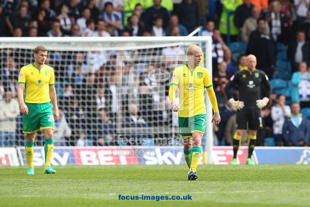 The Norwich players look dejected after conceding their side&rsquo;s 1st goal during the Sky Bet Championship match at Elland Road, Leeds<br /> Picture by Paul Chesterton/Focus Images Ltd +44 7904 640267<br /> 29/04/2017