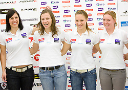 Katja Jazbec, Vanja Brodnik,  Mateja Robnik and Marusa Ferk of Slovenian National team at press conference before new alpine ski season 2009/2010,  on October 19, 2009, in BTC, Ljubljana, Slovenia.   (Photo by Vid Ponikvar / Sportida)