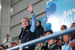BUENOS AIRES, Oct. 12, 2018  International Olympic Committee president Thomas Bach greets the audience at the taekwondo event at the 2018 Summer Youth Olympic Games in Buenos Aires, Argentina on Oct. 11, 2018. (Credit Image: © Li Ming/Xinhua via ZUMA Wire)