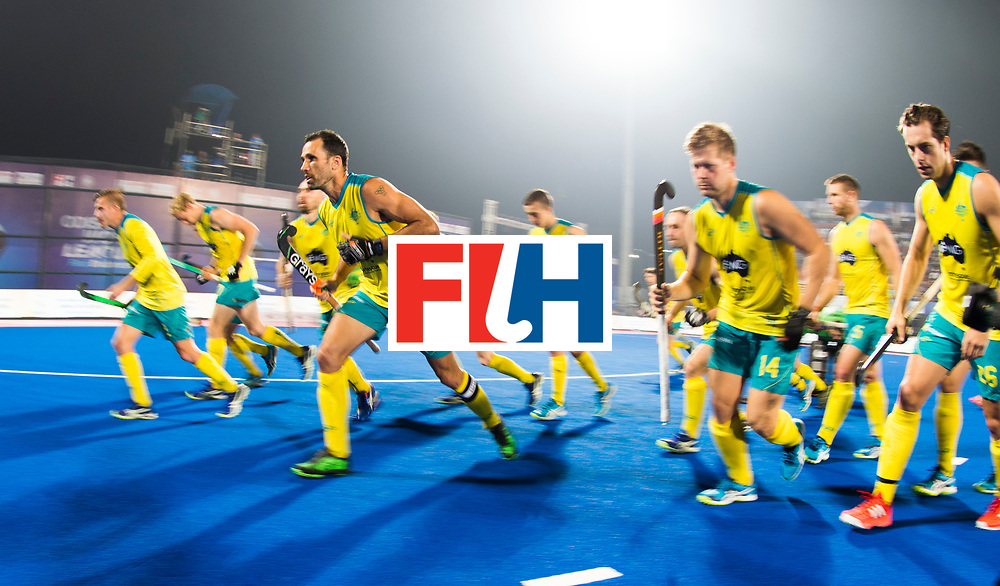 BHUBANESWAR - The Odisha Men's Hockey World League Final . Match ID 02. Australia v India.. Mark Knowles (Aus) in the middle, before the match.   .WORLDSPORTPICS COPYRIGHT  KOEN SUYK