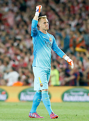 30.05.2015, Camp Nou, Barcelona, ESP, Copa del Rey, Athletic Club Bilbao vs FC Barcelona, Finale, im Bild FC Barcelona's Marc-Andre Ter Stegen celebrates goal // during the final match of spanish king's cup between Athletic Club Bilbao and Barcelona FC at Camp Nou in Barcelona, Spain on 2015/05/30. EXPA Pictures &copy; 2015, PhotoCredit: EXPA/ Alterphotos/ Acero<br /> <br /> *****ATTENTION - OUT of ESP, SUI*****