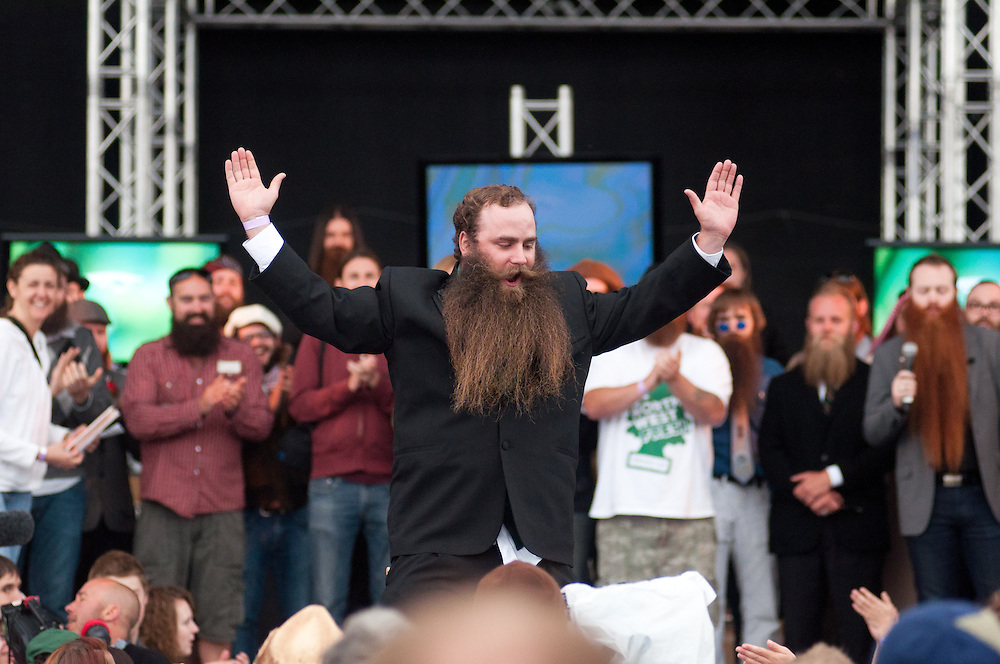 A contestant at the National Beard and Mustache Championships in Bend, Oregon in 2010.