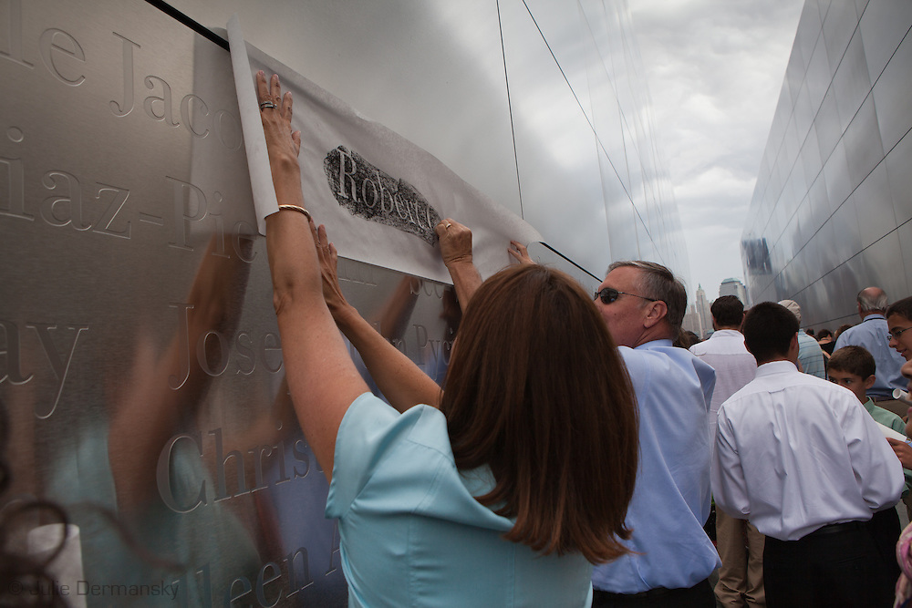 Mary Pat at the opening of the Empty Sky Memorial 9/11 Memorial at Liberty State Park in New Jersey on  September 10th 2011 for the tenth anniversary of 9/11.The memorial is two 30-Ft rectangular towers  208 feet by 10 inches long,  the width of the World Trade Center towers and with the names of the 746 New Jerseyans who perished after the terrorist attacks on 9/11, 2001.