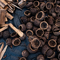 Producing bio-carbon from Brazil nut shells at the CINCIA facility 20km southwest of Puerto Maldonado. Mining has deforested the landscape and degraded soil in vast areas in Madre de Dios and other surrounding Amazonian regions leading to soil deterioration, water quality losses, and a decrease in vegetation cover. CINCIA is experimenting with bio-carbon as a potential remediation tool. Bio-carbon is a low-cost, technically simple product and process that converts locally available materials (e.g., brazil nut shells, cacao husks, or cedar sawdust) into a soil additive that helps increase nutrients and water retention in the soil, improving acidity and stimulating the microbial functions that making reforestation efforts more effective. Puerto Maldonado, Madre de Dios, Peru.