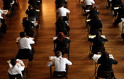 File photo dated 02/03/12 of an exam in progress, as more than half of youngsters who left school in 2015/16 did not have a key maths qualification.