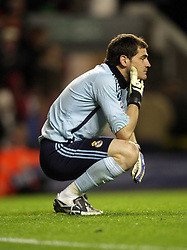 A dejected Iker Casillas after letting in a fourth goal on the night..Uefa Champions League, First knock-out round, second leg..Liverpool v Real Madrid..Anfield..10.03.09
