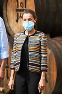 Queen Letizia of Spain visit Lopez de Heredia Winery at  on July 10, 2020 in Haro, Spain
