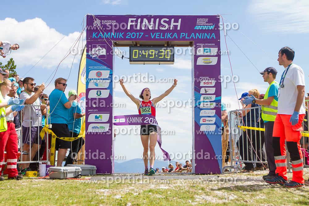 Maude Mathys from Switzerland, the winner of European mountain running championships in Kamnik / Velika planina on 8th July 2017. Photo by: Peter Kastelic / Sportida
