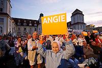 """19 AUG 2005, BINZ/GERMANY:<br /> Kleine Maedchen mit Schilder """"Angie"""" waehrend einem Wahlkampfauftritt von A ngela M erkel, CDU Bundesvorsitzende und Spitzenkandidatin zur Bundestagswahl, in Ihrem Wahlkreis Stralsund-Nordvorpommern-Ruegen, vor dem Kurhotel Binz auf Ruegen<br /> Little Girl, with placard """"Angie"""" (Shortform of Angela) during an election campaign rally of A ngela M erkel, Chairwoman of the Christian Democrats Party and candidate for Chancellor<br /> IMAGE: 20050819-01-015<br /> KEYWORDS: Wahlkampf, Bundestagswahl,"""