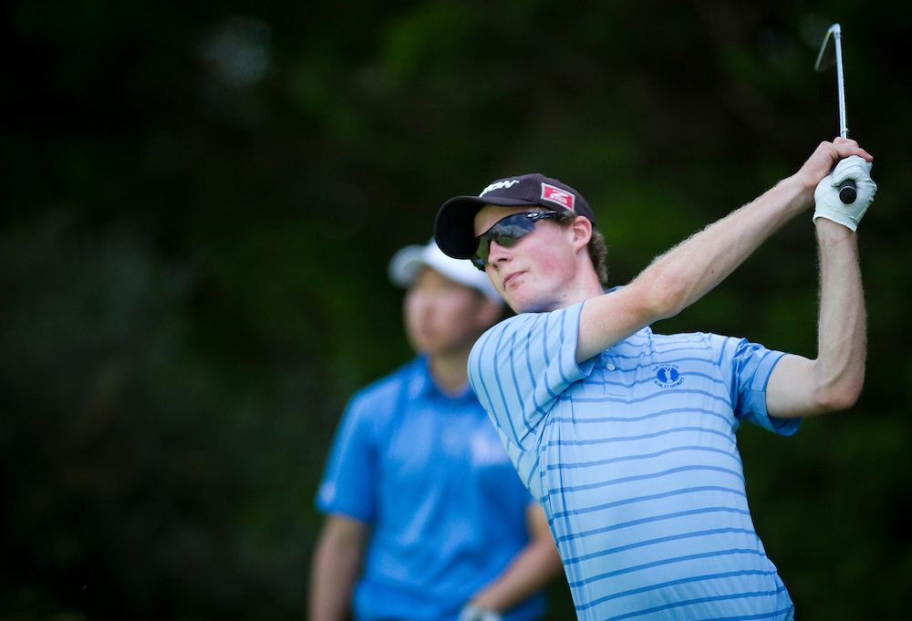 Tim Leonard tees off at the New Zealand Stroke Play Golf Championship, Hastings, New Zealand, Friday, March 23, 2012. Photo:SNPA / Bethelle McFedries