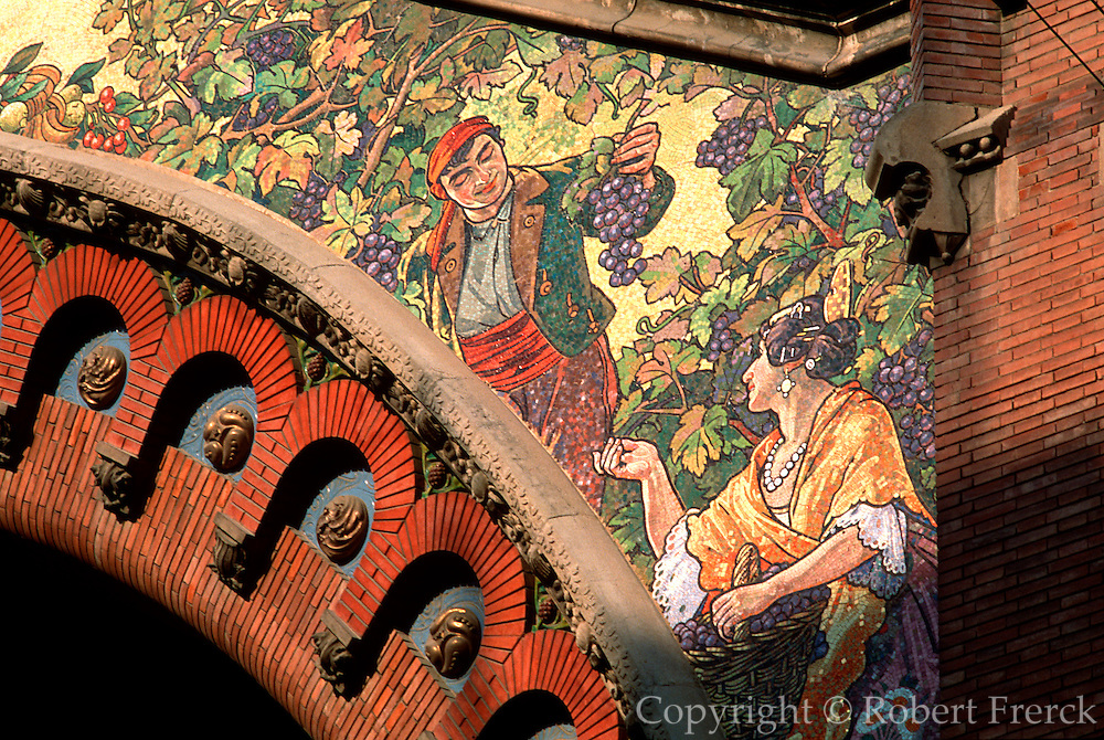 SPAIN, EAST COAST, VALENCIA Central Market, grape harvest mosaic
