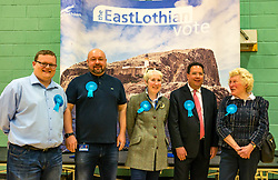 Haddington & Lammermuir by-election count. Haddington, East Lothian, Scotland, United Kingdom, 10 May 2019. Pictured: Conservative Councillors (L to R) Lachlan Bruce, Gordon Mackett, Jean Henderson, Craig Hoy (newly elected) and Sue Kempson . The election takes place of one councillor in Ward 5 of East Lothian Council due to the resignation of Councillor Brian Small. The successful candidate represents this ward along with the three existing councillors. The by-election uses the Single Transferable Vote (STV) system in which voters can rank candidates in order of preference and can choose to vote for as many or as few candidates as they like. The election fields 5 candidates from Scottish National Party (SNP), Scottish Labour Party, Scottish Conservatives and Unionist Party, Scottish Liberal Democrats and UK Independence Party (UKIP).<br /> The candidate elected is Stuart Craig Hoy, Scottish Conservative and Unionist Party.<br /> Sally Anderson | EdinburghElitemedia.co.uk