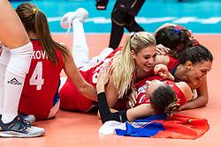 20-10-2018 JPN: Final World Championship Volleyball Women day 21, Yokohama<br /> Serbia - Italy 3-2 / Jovana Stevanovic #15 of Serbia, Stefana Veljkovic #11 of Serbia, Maja OgnjenovicC #10 of Serbia
